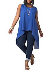 Damen Solide Übergröße / Sexy Ausgehen T-shirt,Rundhalsausschnitt Sommer Ärmellos Blau / Weiß / Schwarz / Gelb Polyester Dünn