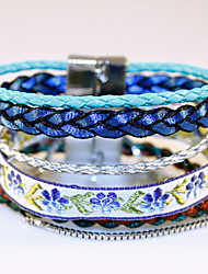 Bohemian National Wind Multilayer Woven Bracelet Ribbon Bracelet Alloy Magnetic Buckle