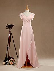 Formal Evening Dress Sheath / Column V-neck Floor-length Chiffon with Criss Cross