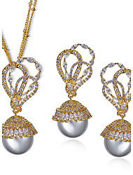 Jewelry Set Imitation Pearl Cubic Zirconia Copper Platinum Plated Gold Plated Fashion Birthstones Bridal Flower Gold White