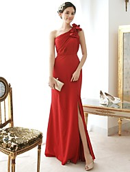 Floor-length Chiffon / Satin Bridesmaid Dress Sheath/Column One Shoulder