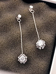 Drop Earrings Silver Sterling Silver Zircon Cubic Zirconia Fashion Geometric Silver Jewelry Party Daily 1 pair
