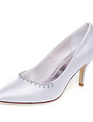 Mujer-Tacón Stiletto-TaconesBoda / Vestido / Fiesta y Noche-Seda-Blanco
