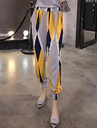 하렘 팬츠 치노바지 여성 바지,데이트 펑크 & 고딕 컬러 블럭 쉬폰 중간 밑위 신축성 폴리에스테르 스판덱스 비 신축성 스프링 여름