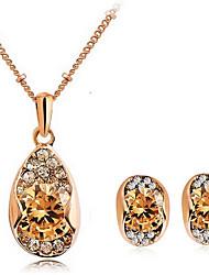 Women's Hearts and Arrows Diamond Zircon Crystal Earrings Necklace Set