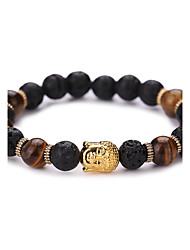 Women Men Fashion Bracelet Pulseras Mujer Black Lava Stone Buddha Beads Bracelet #YMGS1007