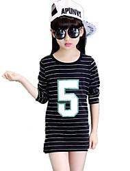 Girl's Fashion Wild Basic Casual/Daily Print Striped Cotton Tee