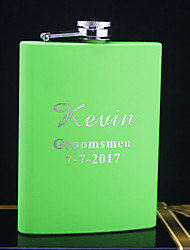 Personalized Stainless Steel 8-oz Green Hip Flasks