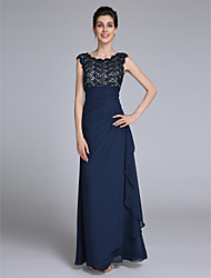 LAN TING BRIDE Sheath / Column Mother of the Bride Dress - Elegant Floor-length Sleeveless Chiffon with Lace Side Draping