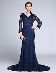 TS Couture Formal Evening Dress - Elegant Trumpet / Mermaid V-neck Court Train Lace with Lace