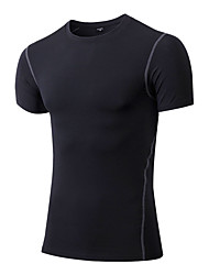 Men's Short Sleeve Running Sweatshirt T-shirt Quick Dry Breathable Stretch Compression Sweat-wicking Spring Summer Fall/Autumn Sports Wear