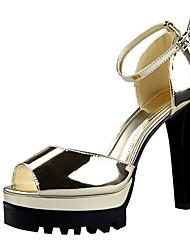 Damen-High Heels-Lässig-Lackleder-StöckelabsatzSchwarz Silber Gold Champagner
