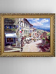 HD Print Streetscape Painting Mediterranean Sea Landscape with Stretched Delicate Framed