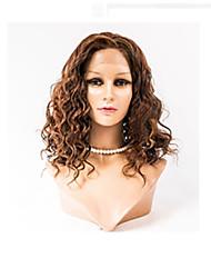 16inch Spitzefronthaarperücken mongolisches reines Haar 100% Menschenhaarspitzefrontwellenförmige Art Perücken für Frauen