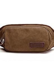Unisex Canvas Outdoor Waist Bag Brown / Black