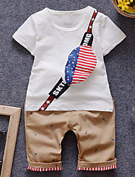 Baby Casual/Daily Geometric Clothing Set-Cotton-Summer / Spring / Fall-White