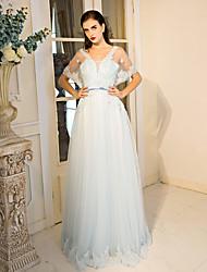 Evento Formal Vestido Linha A Decote V Longo Renda / Tule com Laço(s) / Detalhes em Cristal / Flor(es) / Renda