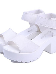 Women's Shoes Chunky Heel Creepers/Comfort Peep Toe Sandals Casual Black/White