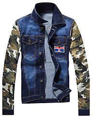 In the spring of 2016 new men's fashion trend of men's slim type camouflage stretch denim jacket