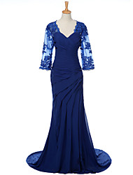 Tubinho Vestido Para Mãe dos Noivos Cauda Escova Chiffon - Apliques