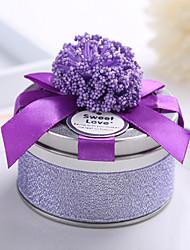 10 Piece/Set Favor Holder-Cylinder Metal Ribbons Lavender Wedding Favor Boxes Candy Boxes