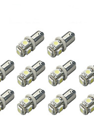 10pcs BA9S 5050 5SMD White Color Car Led Light Auto Bulb Indicator License Plate Map Dome Packing Car Styling 12V