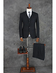 Suits Tailored Fit Notch Single Breasted One-button Polyester Gingham 3 Pieces Black Straight Flapped Single  Single