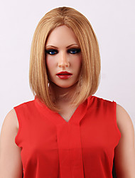 Elegant Medium Straight Brown Lace Front Human Hair