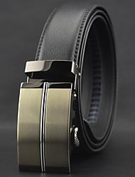 Men Black Automatic Buckle Genuine Leather Wide Belt,Work / Casual
