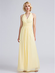 Ankle-length Halter Bridesmaid Dress - Open Back Sleeveless Chiffon