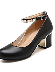 Women's Summer Fall Comfort Leatherette Office & Career Casual Chunky Heel Imitation Pearl Buckle Black Pink White