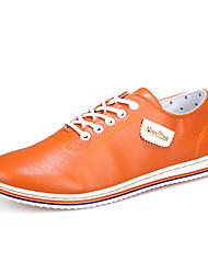 Men's Shoes PU Work & Duty / Casual Oxfords Work & Duty / Casual Walking Flat Heel Lace-up Black / White / Orange