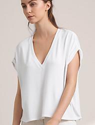 Damen Solide Einfach Lässig/Alltäglich T-shirt,V-Ausschnitt Sommer / Herbst Kurzarm Weiß Baumwolle Undurchsichtig