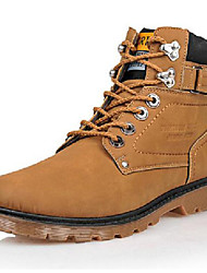 Men's Shoes Leather Athletic Boots Athletic Trail Running Low Heel Buckle / Lace-up Black / Brown / Yellow