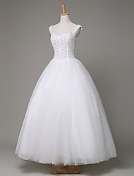 Ball Gown Wedding Dress Ankle-length Straps Tulle / Sequined with Beading