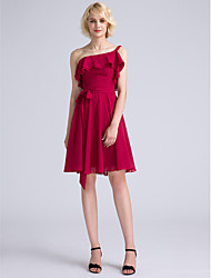 Knee-length Chiffon Bridesmaid Dress A-line One Shoulder with