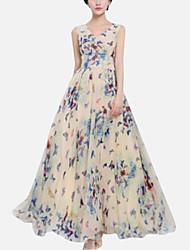 Women's Beach Plus Size Dress,Floral Maxi Sleeveless Blue / Pink / Yellow / Purple Summer