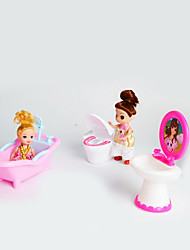 Doll Gift Set Large Three-Piece Bathroom Accessories Toilet Bidet Simulation Toys Children Play House Without Baby