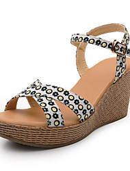 Damen-Sandalen-Kleid-Trillich-Keilabsatz-Wedges-Blau / Weiß