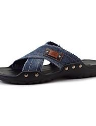 Herren-Sandalen-Lässig-Denim Jeans-Flacher Absatz-Rundeschuh-Blau / Khaki