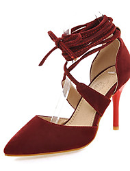 Women's Shoes Summer Ankle Strap / Pointed Toe Heels Dress Stiletto Heel Lace-up / Hollow-outBlack / Red /