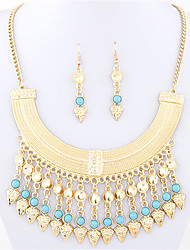 Women's Fashion Simple Metal Bohemia Turquoise Necklace Earrings Set