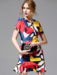 AFOLD® Women's Round Neck Short Sleeve Dress-5677