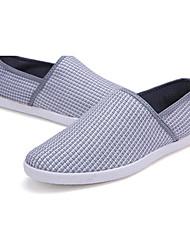 Herren-Flache Schuhe-Lässig-Spitze / Leinen-Flacher Absatz-Flache Schuhe-Braun / Weiß / Grau