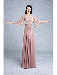 Mermaid / Trumpet Jewel Neck Floor Length Lace Formal Evening Dress with Beading Draping