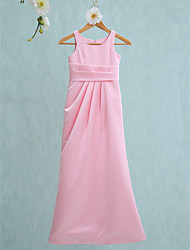 LAN TING BRIDE Floor-length Satin Junior Bridesmaid Dress Sheath / Column Jewel Natural with Side Draping