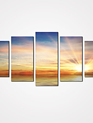 5 Panels Sunrise by Sea Canvas Print Art Modern Landscape Painting for Home Decor Unframed