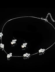 Schmuck Halsketten / Ohrringe Braut-Schmuck-Sets / Halskette / Ohrringe Künstliche Perle Hochzeit / Party 1 Set Damen Silber