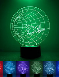 aeronaves criativo colorido usb 3d luz conduzida da noite