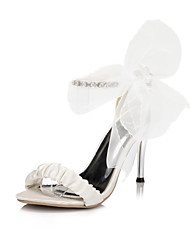 Women's Sandals Spring / Summer Peep Toe Satin Wedding / Dress / Party & Evening Stiletto Heel Rhinestone / Bowknot Ivory / White